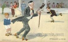 spo022074 - Roller Skating Old Vintage Antique Postcard Post Cards