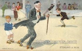 spo022074 - Roller Skating Old Vintage Antique Postcard Post Cards