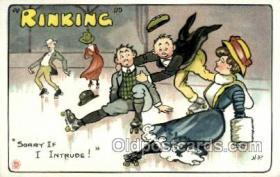 spo022076 - Roller Skating Old Vintage Antique Postcard Post Cards