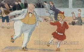 spo022080 - Roller Skating Old Vintage Antique Postcard Post Cards