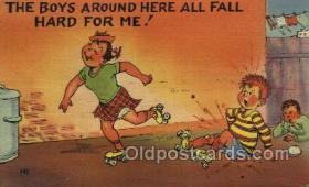 spo022096 - Roller Skating Old Vintage Antique Postcard Post Cards