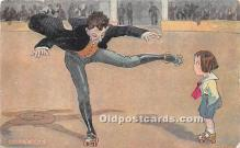 spo022099 - Old Vintage Rollae Skating Postcard Post Card