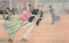 spo022121 - Old Vintage Rollae Skating Postcard Post Card