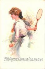 spo024073 - Artist Usabal Tennis postcard postcards