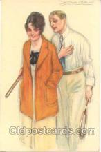 spo024218 - Artist Mauzan Tennis Postcard Postcards