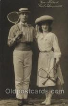 spo024522 - Lisa Holm&Carl Fohannesson Tennis, Old Vintage Antique, Post Card Postcard