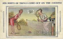 spo024619 - Art comic, Bamforth Comic, USA Tennis, Old Vintage Antique, Post Card Postcard