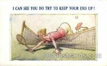 spo024626 - No. 13560 Tennis Comic, Bamforth Co., N.J., USA Tennis, Old Vintage Antique, Post Card Postcard