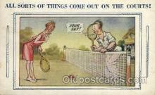 spo024674 - Art comic, Bamforth Comic, USA Tennis, Old Vintage Antique, Post Card Postcard