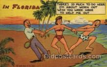 spo024683 - 5F-Tropical Florida Comics Tennis, Old Vintage Antique, Post Card Postcard