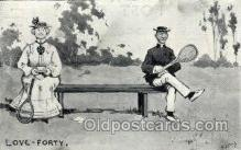 spo024700 - Sketchy Bits Tennis, Old Vintage Antique, Post Card Postcard