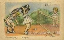 spo024722 - Artist J. Idrac Tennis Old Vintage Antique Postcard Post Cards