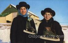 spo025190 - Amish Skaters Ice Skating, Skiing, Winter Sports Postcard Postcards