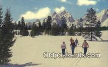 spo025398 - Grand Teton National Park, WY USA Ski, Skiing Postcard Post Card Old Vintage Antique
