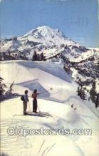 spo025520 - Mt Rainier, WA USA Ski, Skiing Postcard Post Card Old Vintage Antique