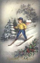 spo025530 - Gelukkig Nieuwjaar Ski, Skiing Postcard Post Card Old Vintage Antique
