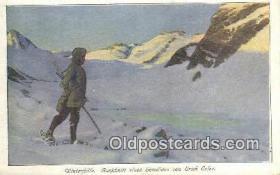 spo025560 - Winterftille Auschnitt Eines Gemaldes Von Erich Erler Ski, Skiing Postcard Post Card Old Vintage Antique
