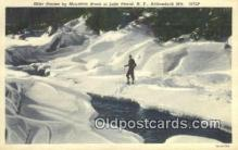 spo025565 - Linen, Skier By Mountain Brook, Lake Placid, NY USA Skiing Postcard Post Card Old Vintage Antique