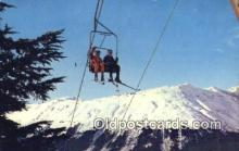 spo025585 - Skiers On Way Up To Sun Deck, MT Alyeska Ski Resort, USA Skiing Postcard Post Card Old Vintage Antique