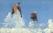 spo025591 - Skiing And A Fast Jump Along The Trail Skiing Postcard Post Card Old Vintage Antique