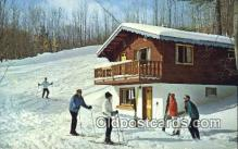 spo025619 - Skiers Cabin And Ski Slope, Gaylord, MI USA Skiing Postcard Post Card Old Vintage Antique