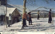 spo025621 - Skiers Leaving The Lodge , Arizona Snow Bowl, AZ USA Skiing Postcard Post Card Old Vintage Antique