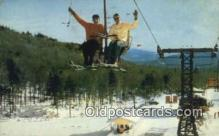 spo025644 - Double Chair Lift, Stowe, Vermont, VT USA Skiing Postcard Post Card Old Vintage Antique