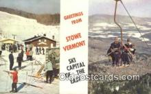 spo025661 - Alpine Lift And Spruce Peak Ski Area, Stowe, Vermont, VT USA Skiing Postcard Post Card Old Vintage Antique