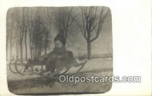 spo025807 - Horse Rocker & Sleigh, Real Photo Ski, Skiing Postcard Post Card Old Vintage Antique