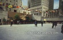 spo025847 - Rockefeller Plaza, Outdoor Skating Pond, New York City, New York, NY USA Ice Skating Postcard Post Card Old Vintage Antique