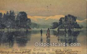 spo025853 - Ice Skating Postcard Post Card Old Vintage Antique