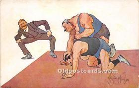 spo026108 - Old Vintage Wrestling Postcard Post Card