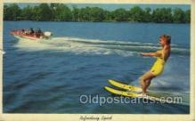 spo060018 - Refreshing sport Water Sking, Sports, Old Vintage Antique Postcard Post Cards