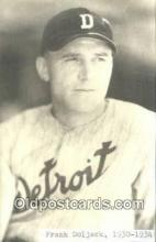spo070170 - Frank Doljack Baseball Postcard Detroit Tigers Base Ball Postcard Post Card