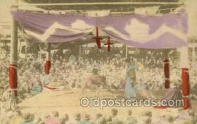 spo100004 - Sumo Wrestling Old Vintage Antique Postcard Post Cards