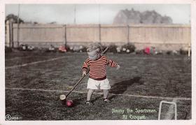 spoA008017 - Jimmy the spofrtsman, Croquet Postcard