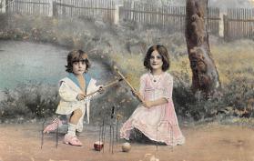 spoA008032 - Children Playing Croquet Postcard