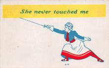 spof011031 - She never touched me Fencing Postcard