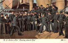 spof011035 - US Sailors Life, Fencing aboard Ship Fencing Postcard