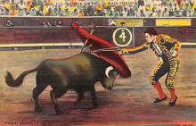 spof017008 - Matador and Bull in Death Struggle Bullfighting Postcard