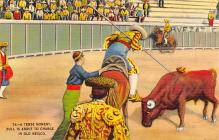 spof017009 - A Tense Moment, Bull is about to Charge in Old Mexico Bullfighting Postcard