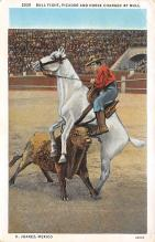 spof017124 - Bull Fight, Picasdor and Horse Charged by Bull, C. Juarez Mexico Bullfighting Postcard