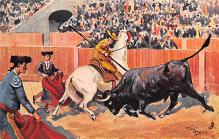 spof017187 - Artist Frank Dean, Bull Fighting Postcard