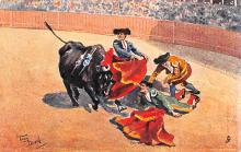 spof017188 - Artist Frank Dean, Bull Fighting Postcard