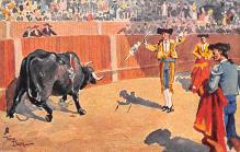 spof017190 - Artist Frank Dean, Bull Fighting Postcard