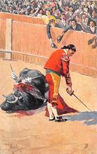 spof017191 - Artist Frank Dean, Bull Fighting Postcard