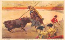 spof017240 - Blow with the Goadstick Bull Fighing, Bullfighting Postcard