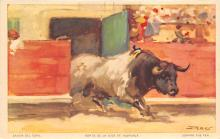 spof017242 - Bull Leaving the Pen Bull Fighing, Bullfighting Postcard