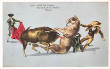 spof017251 - The Fall of the Picador Bull Fighing, Bullfighting Postcard
