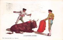 spof017302 - A Cautious Attack Tarjeta Postal Bullfighting Postcard